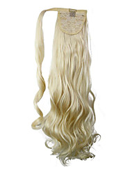 cheap -excellent quality synthetic long curly hair piece 26 inch blonde clip in ponytail