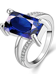 cheap -Women's Band Ring High End Crystal Rose Gold Royal Blue Gemstone Gold Plated Square Vintage Party Work Wedding Party Jewelry
