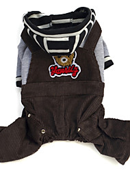 cheap -Dog Hoodie Pants Cartoon Letter & Number Winter Dog Clothes Dark Brown Coffee Costume Corduroy Cotton S M L XL XXL