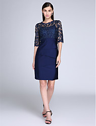 cheap -Sheath / Column Homecoming Cocktail Party Dress Illusion Neck Half Sleeve Knee Length Lace Jersey with Lace 2021