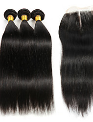 cheap -3 Bundles with Closure Hair Weaves Brazilian Hair Kinky Curly Human Hair Extensions Remy Human Hair Hair Weft with Closure 8-26 inch / 4x4 Closure