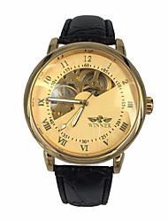 cheap -WINNER Men's Wrist Watch Mechanical Watch Automatic self-winding Oversized Luxury Hollow Engraving Analog Gold / Leather