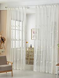 abordables -rideaux transparents teinte deux panneaux salle à manger poly / coton mélangé broderie