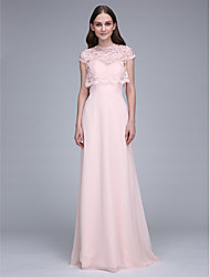 cheap -Sheath / Column Sweetheart Neckline Sweep / Brush Train Chiffon Bridesmaid Dress with Lace / Convertible Dress