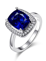 cheap -Women's Band Ring Royal Blue 18K Gold Plated Gemstone Gold Plated Square Vintage Fashion Elegant Wedding Party Jewelry Cocktail Ring