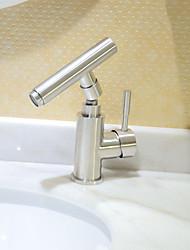 Недорогие -Ванная раковина кран - Широко распространенный Нержавеющая сталь По центру Одной ручкой одно отверстиеBath Taps