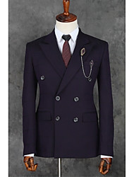 cheap -Purple Stripes Slim Fit Polyester Suit - Slim Notch Double Breasted Two-buttons / Suits