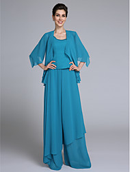 cheap -Jumpsuits Sheath / Column Mother of the Bride Dress Convertible Dress Jumpsuits Scoop Neck Floor Length Chiffon Half Sleeve with Beading Sequin 2021