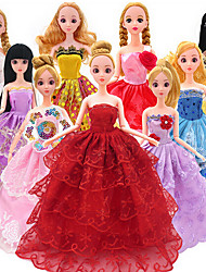 cheap -Doll Clothes Costume Wedding Dress Evening Dress Plastic Fashion Toddler Girls' Toy Gift