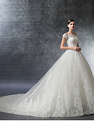 cheap -Ball Gown Off Shoulder Cathedral Train Satin / Lace Over Tulle Short Sleeve Glamorous / Vintage Illusion Detail Wedding Dresses with Crystal / Appliques / Ruffle 2020 / Illusion Sleeve