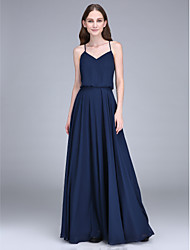 cheap -Sheath / Column Spaghetti Strap Floor Length Chiffon Bridesmaid Dress with Pleats / Open Back