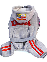 cheap -Dog Hoodie Dog Clothes American / USA Gray Rose Red Cotton Costume For Spring &  Fall