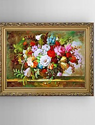 cheap -HD Print Classical Flower Painting Mediterranean Sea Landscape with Stretched Delicate Framed