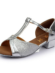 cheap -Women's Dance Shoes Sparkling Glitter / Satin Latin Shoes Buckle Sandal Customized Heel Customizable Red / Blue / Golden / Indoor / Leather
