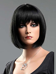 cheap -Synthetic Wig Straight Straight Bob With Bangs Wig Short Black#1B Synthetic Hair Women's With Bangs Black StrongBeauty