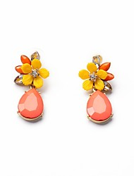 cheap -Women's Earrings Flower Ladies Bohemian European Fashion Boho Resin Earrings Jewelry Golden For Party Daily Casual / Rhinestone