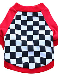 abordables -Chat Chien Tee-shirt Vêtements pour Chien Respirable Noir Rouge Costume Coton Géométrique Mode XS S M L