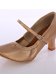cheap -Women's Latin Shoes / Ballroom Shoes Faux Leather Buckle Heel Buckle Customized Heel Customizable Dance Shoes Black / Brown / White / Indoor / EU40
