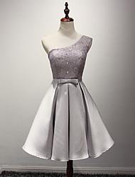 cheap -A-Line One Shoulder Knee Length Taffeta Bridesmaid Dress with Sash / Ribbon