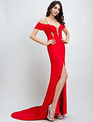 cheap -Mermaid / Trumpet Celebrity Style Formal Evening Dress Plunging Neck Sleeveless Court Train Jersey with Split Front 2021