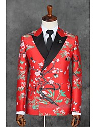 cheap -Red Pattern Slim Fit Polyester Suit - Slim Notch Double Breasted Two-buttons / Pattern / Print / Suits