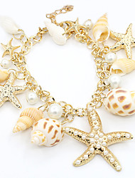 cheap -Women's Pearl Charm Bracelet Star Starfish Ladies Fashion Imitation Pearl Bracelet Jewelry Gold For Daily / Gold Plated