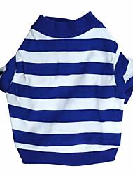 abordables -Chat Chien Tee-shirt Vêtements pour Chien Rayure Bleu Rose Coton Costume Pour Printemps & Automne Homme Femme Mode