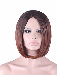 cheap -Synthetic Wig Straight Bob Wig Medium Length Synthetic Hair Women's Middle Part Bob Natural Hairline Dark Brown