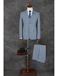 cheap -Pool Checkered / Gingham Standard Fit Polyester Suit - Notch Single Breasted Two-buttons / Suits
