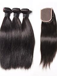 cheap -6A Malaysian Virgin Hair Silk Straight 4 Bundles/Lot Human Hair Weaves Malaysian Silk Straight Human Hair Weft