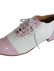 cheap -Women's Dance Shoes Leather / Patent Leather / Leatherette Swing Shoes Lace-up Heel Low Heel Customizable Black / Red / Pink / Indoor / Performance / EU36