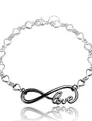cheap -Women's Chain Bracelet Alphabet Shape Love Vintage Fashion Sterling Silver Bracelet Jewelry Silver / Black For Wedding Party Daily Casual