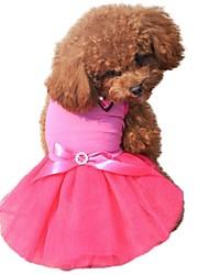 cheap -Cat Dog Dress Dog Clothes Black White Yellow Costume Chiffon Cotton Color Block Bowknot Crystal / Rhinestone Birthday XS S M L