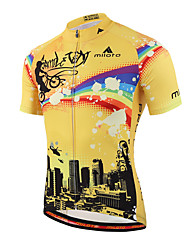cheap -Miloto Men's Short Sleeve Cycling Jersey Stripes Bike Shirt Sweatshirt Jersey Breathable Quick Dry Reflective Strips Sports 100% Polyester Mountain Bike MTB Road Bike Cycling Clothing Apparel