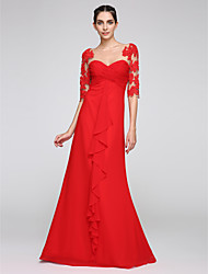 cheap -Sheath / Column Beautiful Back Red Wedding Guest Formal Evening Dress Illusion Neck Half Sleeve Floor Length Chiffon with Draping Appliques 2020