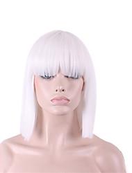 Недорогие -Парики из искусственных волос Прямой Яки Kardashian Прямой силуэт Яки Стрижка боб С чёлкой Парик Средние Белый Искусственные волосы Жен. Белый