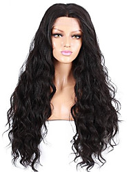 cheap -Human Hair Glueless Full Lace Full Lace Wig style Brazilian Hair Natural Wave Natural Black Wig 130% Density with Baby Hair Natural Hairline African American Wig 100% Hand Tied Women's Short Medium