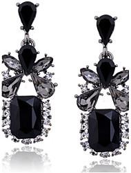 cheap -Women's Cubic Zirconia Drop Earrings Emerald Cut Drop Ladies Luxury Vintage European Fashion Elegant Zircon Cubic Zirconia Imitation Diamond Earrings Jewelry Black For Daily Casual