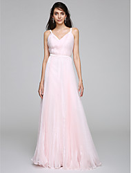 cheap -Sheath / Column Dress Straps Sleeveless Floor Length Organza with Side-Draped 2020 / Wedding Dress in Color