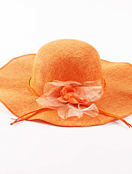 cheap -Women's Holiday Linen Straw Sun Hat-Solid Colored Spring Summer Orange