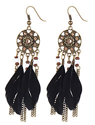 cheap -Women's Girls' Leaf Ladies Vintage Bohemian Fashion Native American Rhinestone Gold Plated Feather Earrings Jewelry Coffee / Red / Dark Green For Party Daily Casual