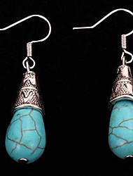 cheap -Women's Girls' Turquoise Drop Vintage Bohemian Silver Plated Earrings Jewelry Blue For Casual