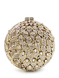 cheap -Women's Bags Metal Evening Bag Crystal / Rhinestone Flower Floral Print for Wedding / Party / Event / Party Black / Gold / Rhinestone Crystal Evening Bags