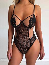 cheap -Women's Lace Super Sexy Bodysuits Nightwear - Lace Jacquard Black S M L