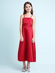 cheap -A-Line / Princess Spaghetti Strap Knee Length Satin Junior Bridesmaid Dress with Sash / Ribbon / Ruffles by LAN TING BRIDE® / Spring / Summer / Fall / Apple / Hourglass