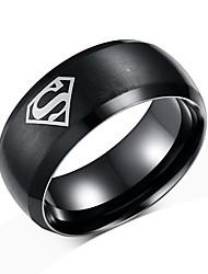 Недорогие -Муж. Кольцо Черный Титановая сталь Вольфрамовая сталь Простой Мода Первоначальные ювелирные изделия Для вечеринок Повседневные Бижутерия