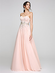 cheap -A-Line Sweetheart Neckline Floor Length Tulle Sparkle & Shine / Elegant / Pastel Colors Prom / Formal Evening Dress with Beading / Crystals 2020