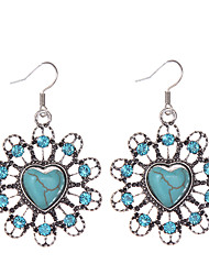 cheap -Women's Girls' Turquoise Drop Heart Love Ladies Vintage Bohemian western style Rhinestone Silver Plated Turquoise Earrings Jewelry Blue For Daily Casual