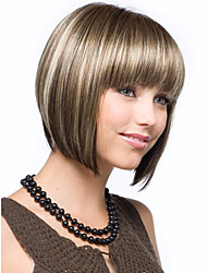 cheap -Synthetic Wig Wavy Wavy Bob With Bangs Wig Blonde Short Brown Synthetic Hair Women's Highlighted / Balayage Hair Middle Part Blonde StrongBeauty