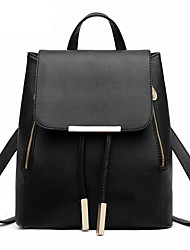 cheap -PU Leather Rivet / Buttons Commuter Backpack Plaid Event / Party Wine / Black / Watermelon